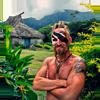 Diwous, šaman kanibalů, savage, divoch, shaman, cannibal, vesnice, village, chatrč, cottage, válečné malování, face paint, džungle, jungle, deštný prales, rain forest, hory, vulkán, mountains, volcano, Fidži, Fiji, Mikronésie, Micronesia